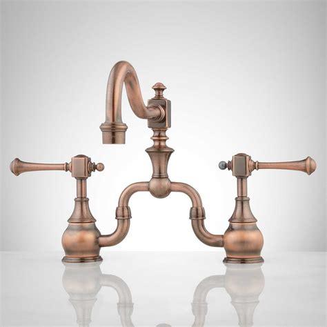 copper faucet kitchen antique bridge faucet signaturehardware com