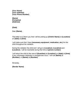 child visitation   printable court letter covers