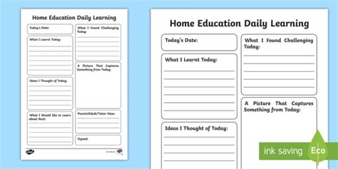 home education daily learning journal writing template