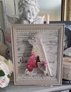 Déco Shabby Chic Romantique : tableau lin shabby chic et romantique encadrement travaill d corations murales decoraci n ~ Dallasstarsshop.com Idées de Décoration