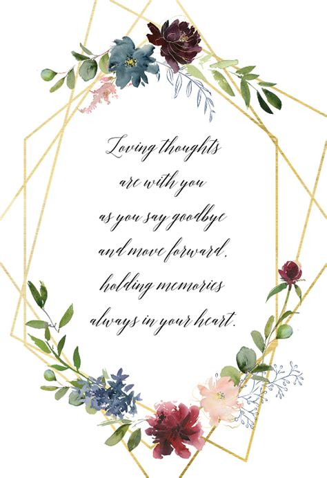 geometric flowers sympathy condolences card