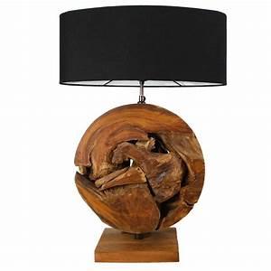 Lampe En Palette : lampe ronde bois flott racine de teck et abat jour noir ~ Voncanada.com Idées de Décoration