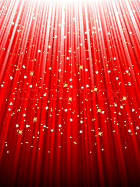 festive red abstract background  stars descending