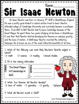 isaac newton biography worksheet free sir isaac newton reading passage by the techie
