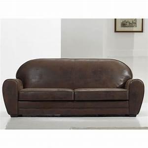 Canapé Vintage Cuir : canap vintage 3 places coloris alaska marron achat vente canap sofa divan cuir ~ Teatrodelosmanantiales.com Idées de Décoration