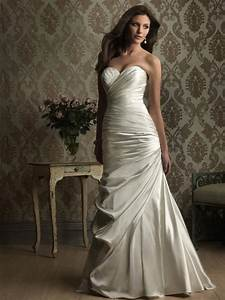 stunning satin sweetheart fitted sheath wedding dresses With satin fitted wedding dress