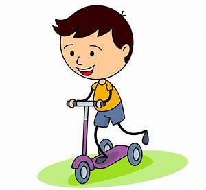 Children : kid-riding-a-three-wheel-scooter-clipart ...