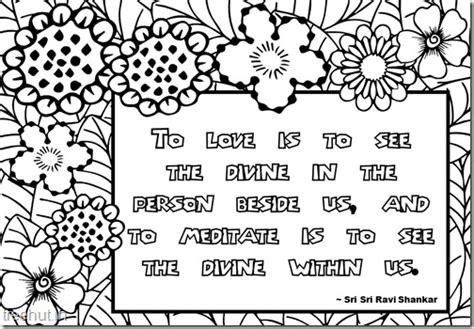meditation quotes coloring pages  sri sri ravi shankar