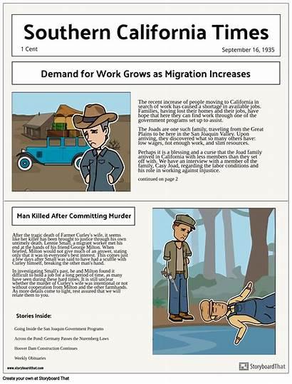 Newspaper Dust Bowl Project Mice Projekt Storyboard