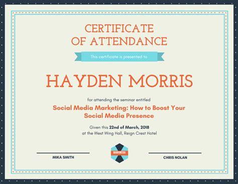 certificate of attendance seminar template customize 48 attendance certificate templates canva