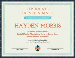 Customize 48 attendance certificate templates online canva for Certificate of attendance seminar template