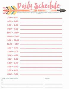 daily schedule free printable With daily schedule template for students