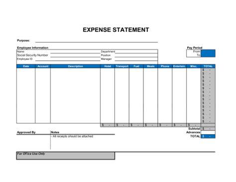 expense statement template sample form biztreecom