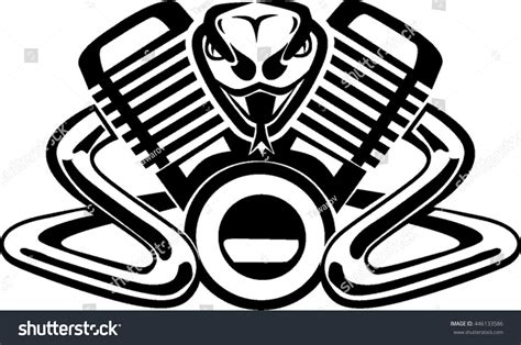 Snake Vtwin Engine Stock Vector 446133586