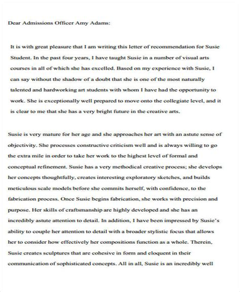 Letter Of Recommendation Template For College Admission by 8 College Recommendation Letter Sles Sle Templates