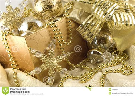 box  elegant gold holiday decorations stock image