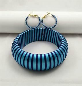 Yaalz Trendy Bangle  U0026 Earring In Light Blue And Dark Blue