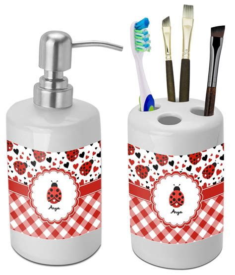 ladybug kitchen accessories ladybugs gingham bathroom accessories set ceramic 3626