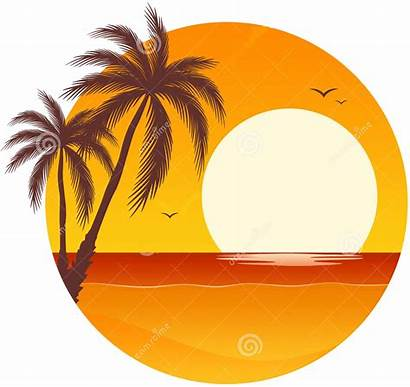 Sunset Palm Tree Clipart Island Trees Ocean