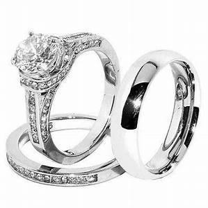 his hers set stainless steel wedding ring set cz ring With womens cz wedding ring sets