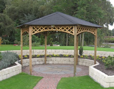 gazebo wooden large hexagonal wooden gazebo buy gazebo direct