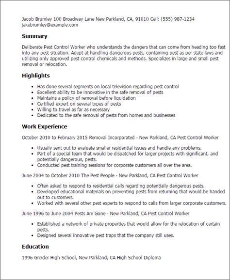 Pest Technician Resume Template by Professional Pest Worker Templates To Showcase Your Talent Myperfectresume