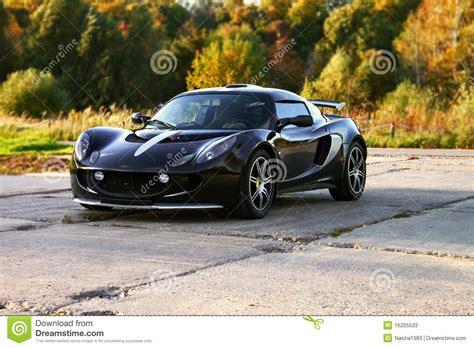 Attractive Black Sport Car With Big Wheels Stock Photos
