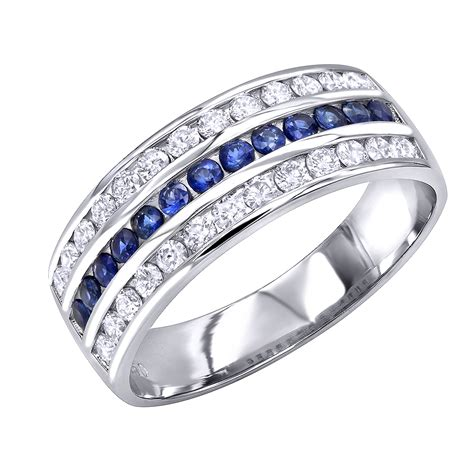 platinum sapphire  diamond wedding band  men