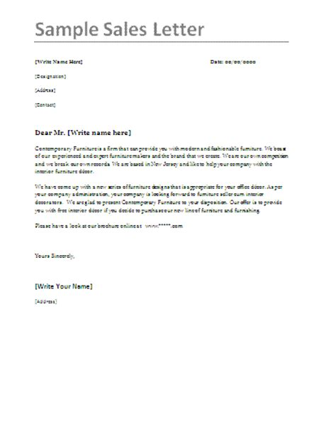 sales letter samples professional word templates