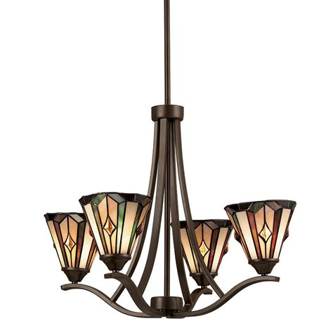 lowes dining room lights shop portfolio 4 light mission bronze tiffany style