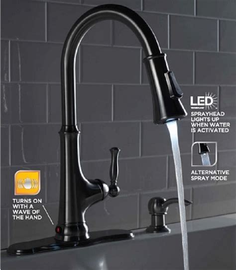 kitchen faucet with led light glacier bay touchless led single handle pull sprayer 8063