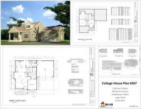 cottage floor plans free h267 cottage house plans in autocad dwg and pdf house plans