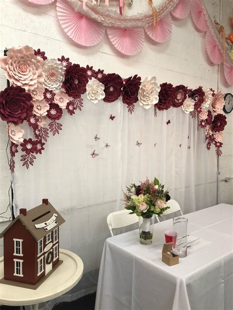 burgundy blush paper flower set quince decorations