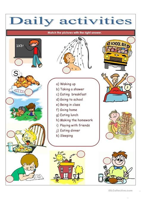 daily activities worksheet  esl printable worksheets