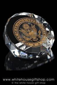 Crystal Cut Presidential Seal Glass Paperweight