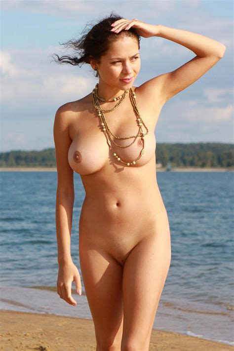 Naked Girl With Great Big Boobs Posing At The Lake S Beach Russian Sexy Girls