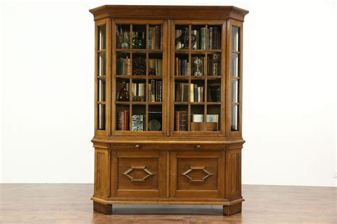 german  antique oak curio collector  china display