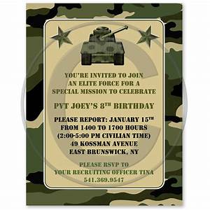 Army birthday invitations camouflage military army for Camouflage party invitation template