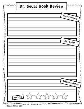dr seuss book review  opinion writing freebie