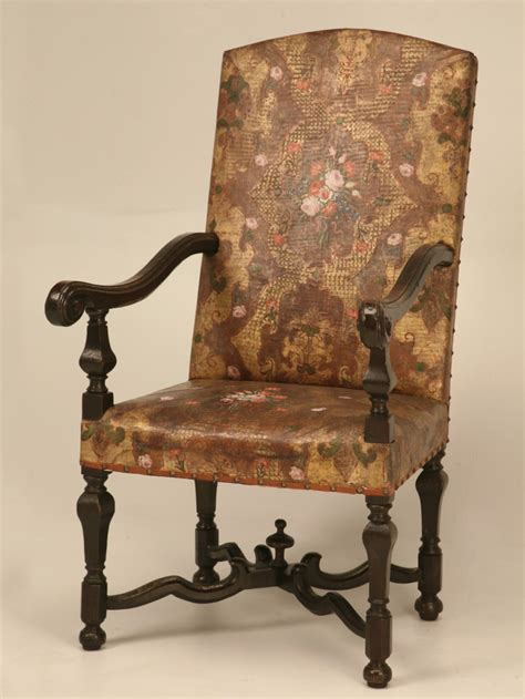 antique embossed leather throne chair  sale  plank