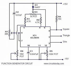 Function Generator Circuit Using Icl8038 Pulse Generator Ic