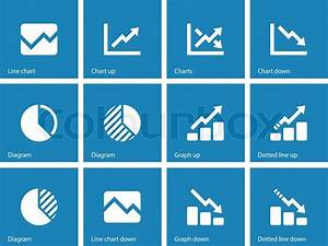 Line Chart And Diagram Icons On Blue Background  Vector Illustration