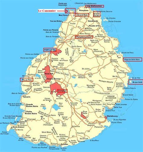 Detaljeret kort over Mauritius