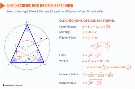 gleichschenkliges dreieck berechnen flaeche hoehe formel