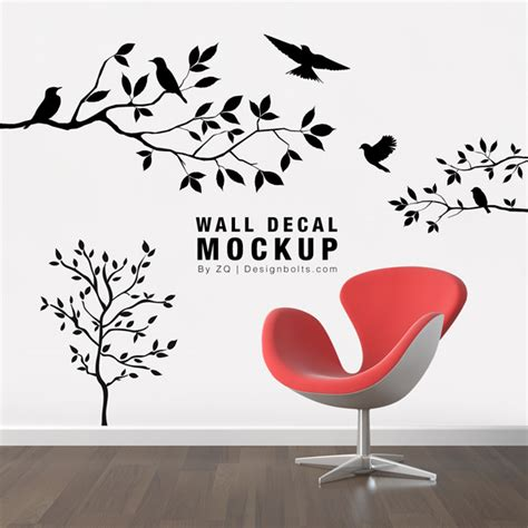 Free Sticker Mockup Free Wall Decal Sticker Mockup Psd File