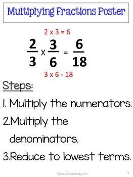 multiplying fractions unit pretest post test poster