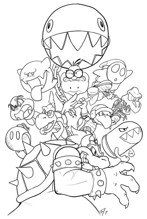 Giga Bowser Kleurplaten by Bowser S Army Lines By Vergeofsanity On Deviantart