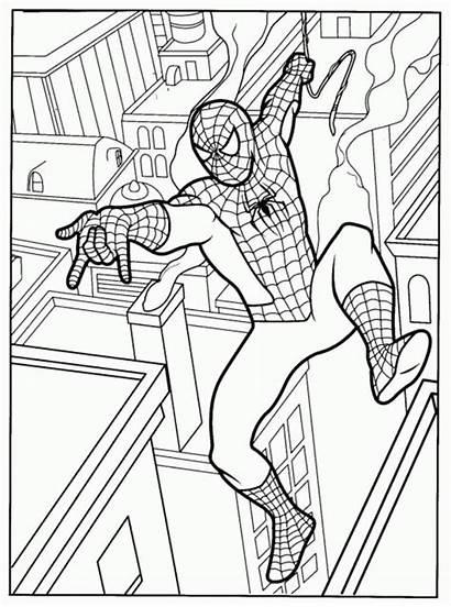 Coloring Spiderman Pages Printable Superhero