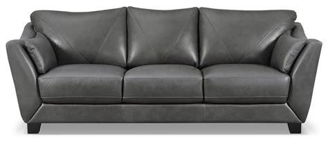 The Brick Leather Sofa by Laken Genuine Leather Sofa Grey The Brick