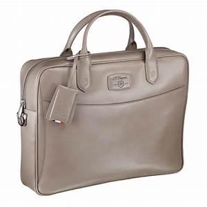 st dupont line d taupe leather document holder bag With document holder bag